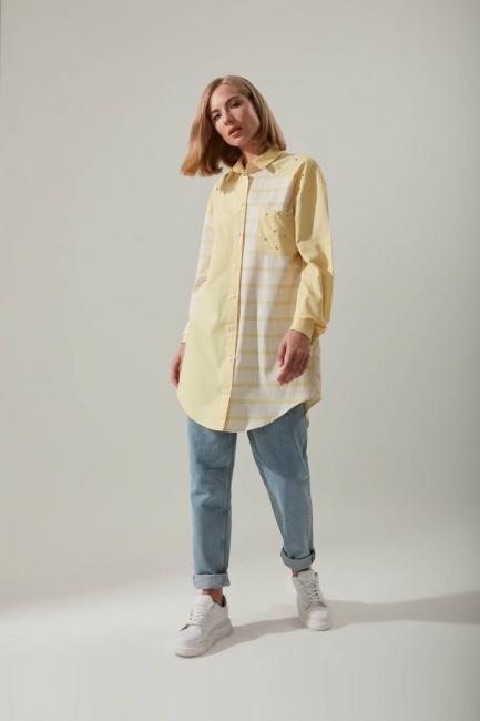 Mizalle - Gömlek Yaka Çizgili Sarı Tunik