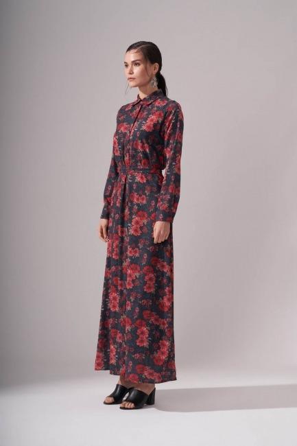 Gömlek Yaka Desenli Maxi Elbise (Kırmızı) - Thumbnail