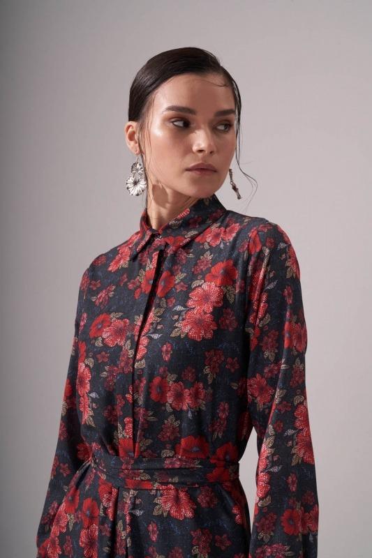 Gömlek Yaka Desenli Maxi Elbise (Kırmızı)