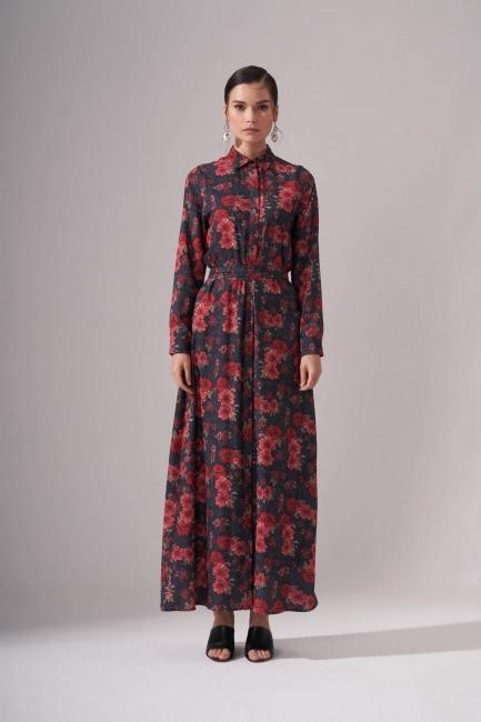 Mizalle - Çiçekli Uzun Kırmızı Elbise