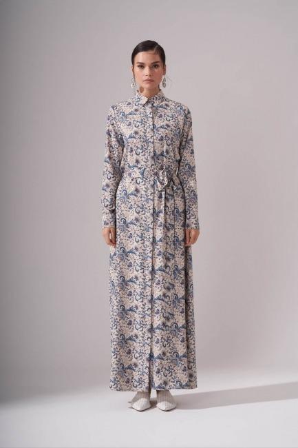 Mizalle - Gömlek Yaka Desenli Mavi Uzun Elbise