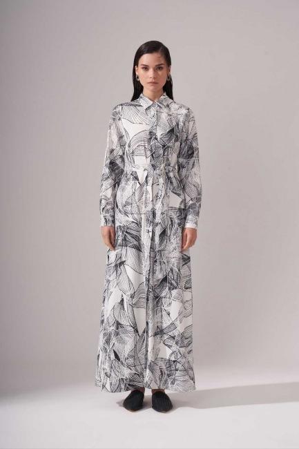 Mizalle - Çiçekli Uzun Siyah Elbise