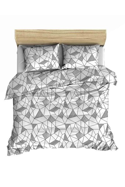 Double Linens Set With Grey Patterns (200X220) - Thumbnail