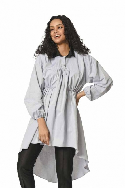 MIZALLE Front Fitted Tunic Shirt (Grey)