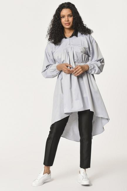 MIZALLE - Önü Büzgülü Tunik Gömlek (Gri) (1)