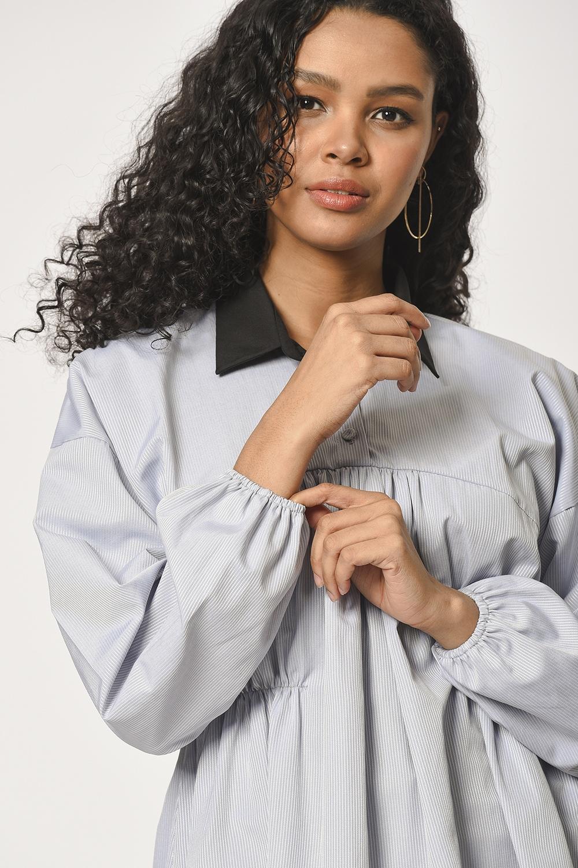 MIZALLE Önü Büzgülü Tunik Gömlek (Gri) (1)