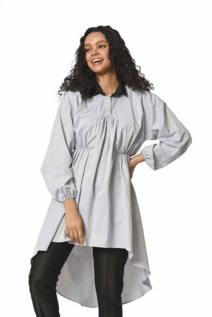 MIZALLE Önü Büzgülü Tunik Gömlek (Gri)