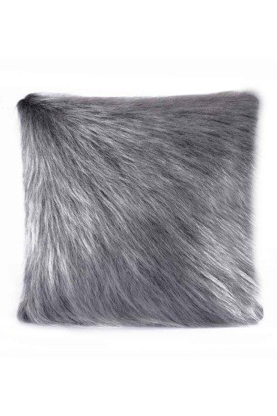 Plush Furry Grey Pillow Case (43X43) - Thumbnail