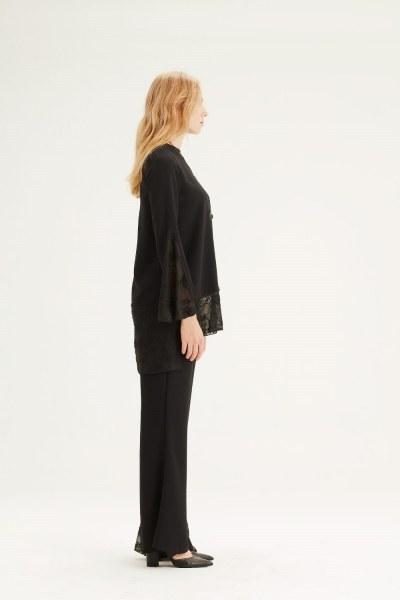 Guipure Detailed Tunic (Black) - Thumbnail