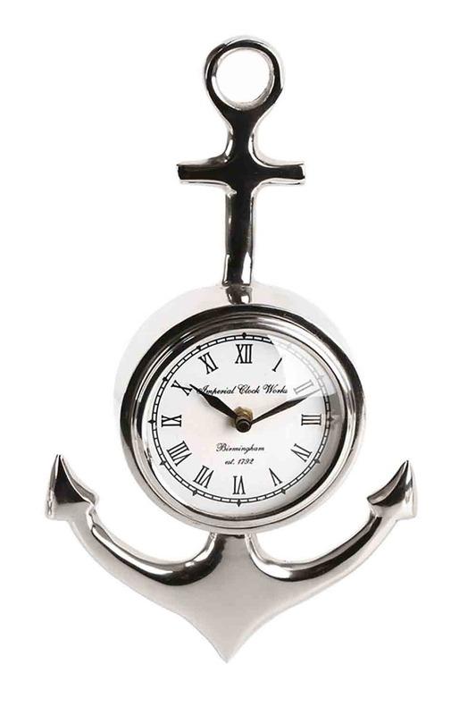 Gümüş Çapa Duvar Saati (Gri)