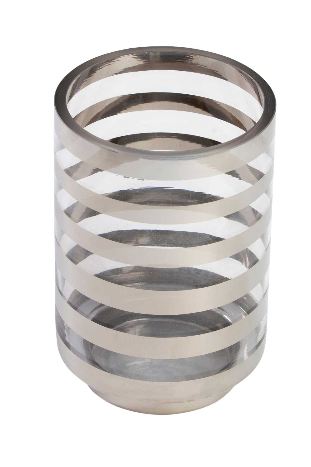 MIZALLE Silver Striped Candle Holder (Large) (1)