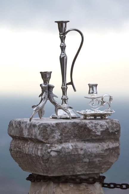 Gümüş Kaplama Kulplu Mumluk (Gri) - Thumbnail