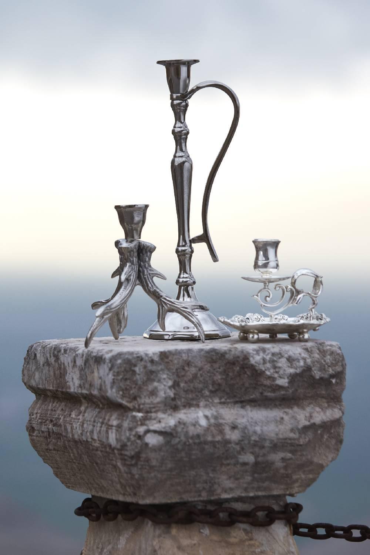 Gümüş Kaplama Kulplu Orta Mumluk (Gri)