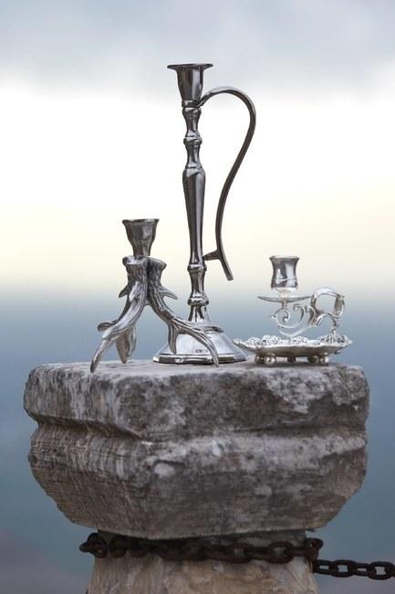 MIZALLE HOME - Gümüş Kaplama Kulplu Orta Mumluk (Gri) (1)