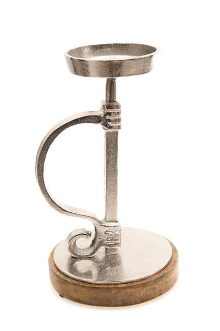 Gümüş Kulplu Mumluk (Gri)