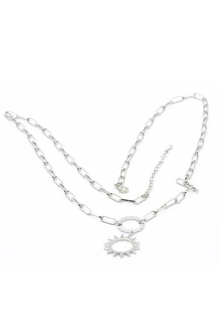 MIZALLE - Sun Pendant Chain Necklace (Grey) (1)
