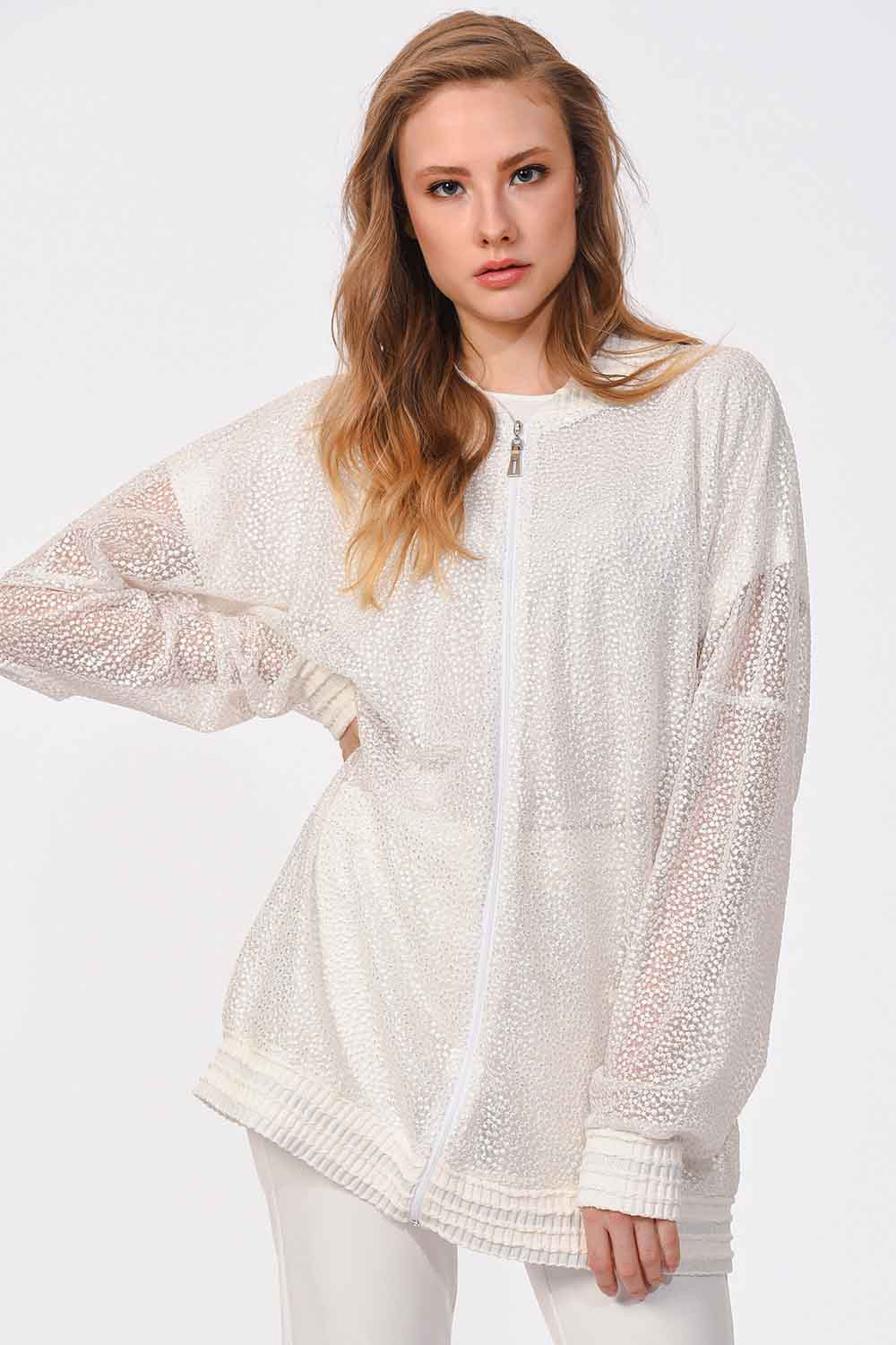 MIZALLE Lace Bomber Jacket (White) (1)