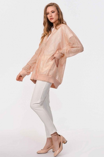 Lace Bomber Jacket (Salmon) - Thumbnail