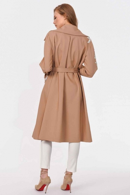 Guipure Detailed Design Trenchcoat (Beige) - Thumbnail
