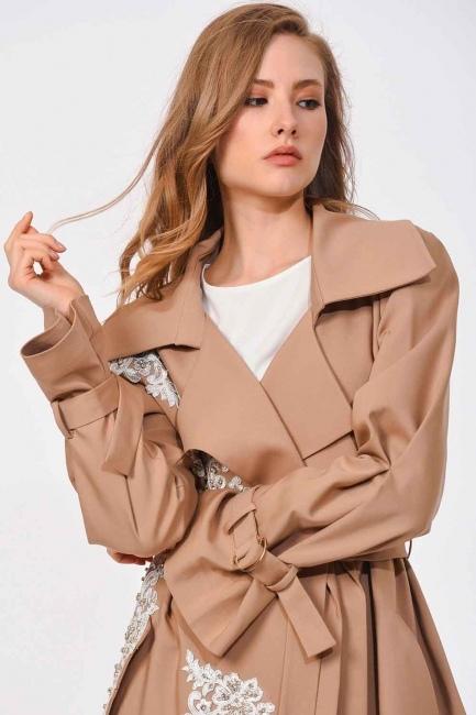 معطف من الصوف مع تصميم بنمط الخيش (البيج) - Thumbnail