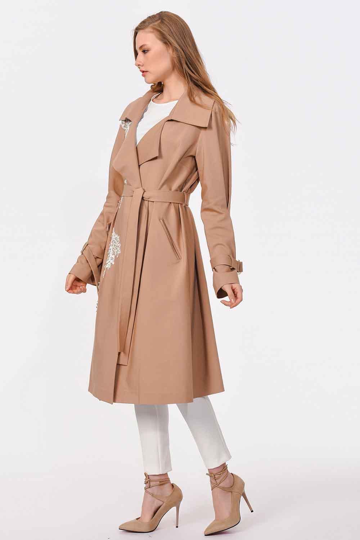 MIZALLE معطف من الصوف مع تصميم بنمط الخيش (البيج) (1)