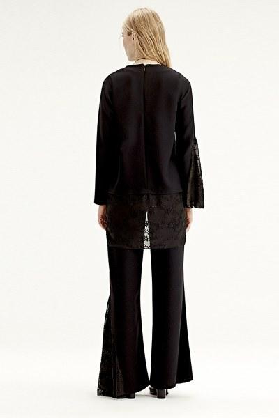 Garni-Guipure Detailed Trousers (Black) - Thumbnail