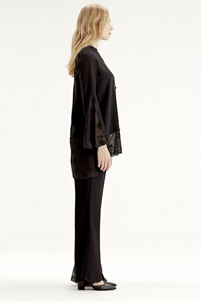 MIZALLE - Güpür Garnili Pantolon (Siyah) (1)