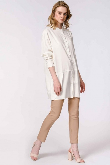 MIZALLE - Judge Collar Blouse (Ecru) (1)