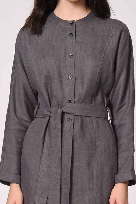 MIZALLE - Judge Collar Linen Tunic Dress (Anthracite) (1)