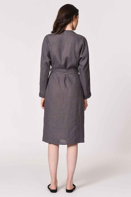 Judge Collar Linen Tunic Dress (Anthracite) - Thumbnail