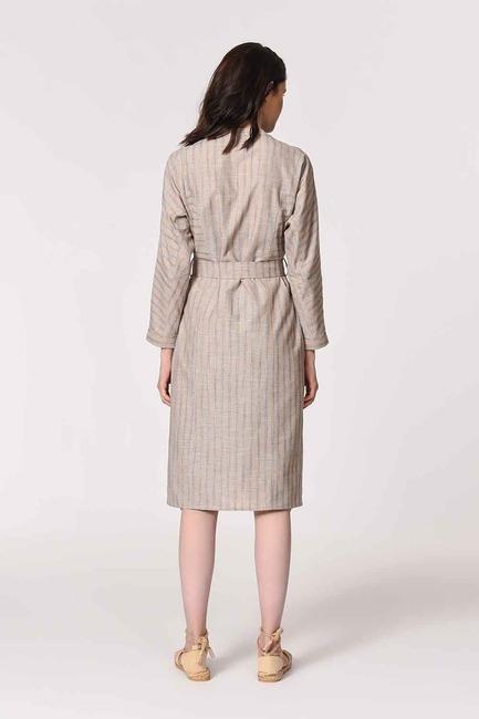 Hakim Yaka Keten Tunik Elbise (Bej) - Thumbnail