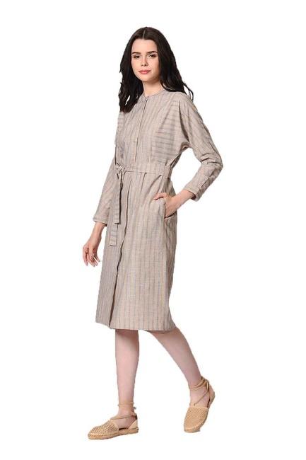 MIZALLE Judge Collar Linen Tunic Dress (Beige)