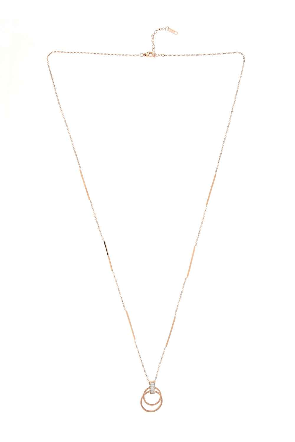 MIZALLE Ring Steel Necklace (St) (1)