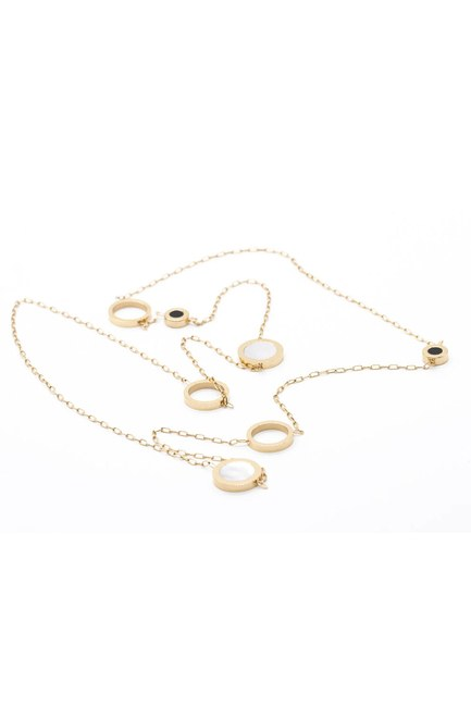 MIZALLE - قلادة فولاذية رفيعة بنهاية الخاتم (الأصفر) (1)