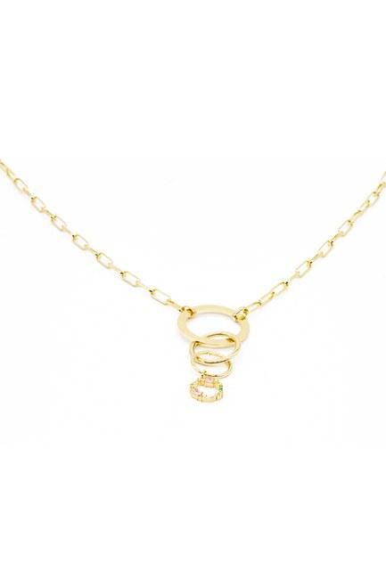 MIZALLE - قلادة مطلية بالذهب مع حلقات (1)
