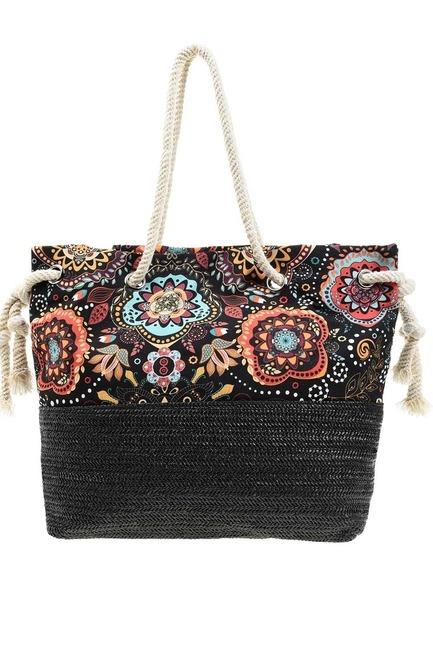 MIZALLE - Wicker Detailed Beach Bag (Black) (1)