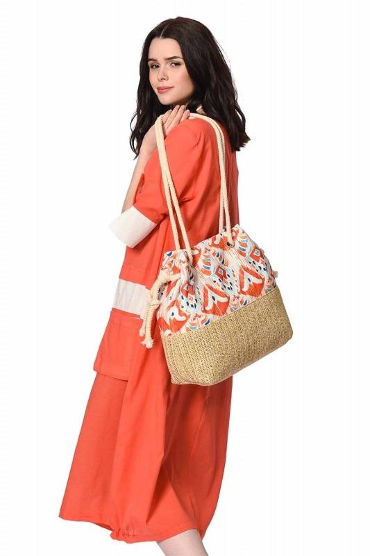 حقيبة الشاطئ مع القش التفاصيل (برتقالي)