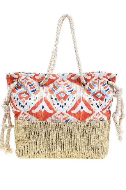 حقيبة الشاطئ مع القش التفاصيل (برتقالي) - Thumbnail