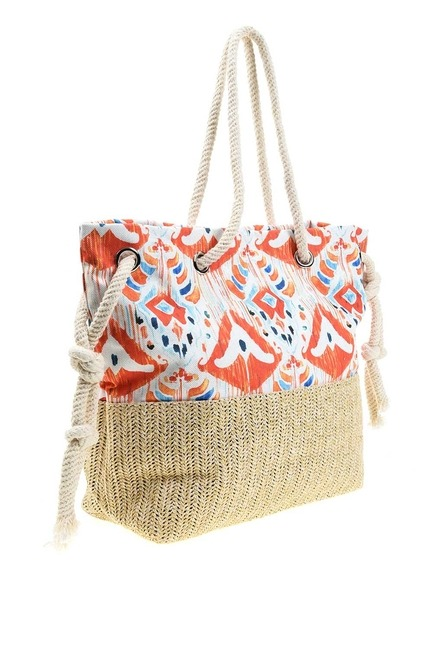 Wicker Detailed Beach Bag (Orange) - Thumbnail