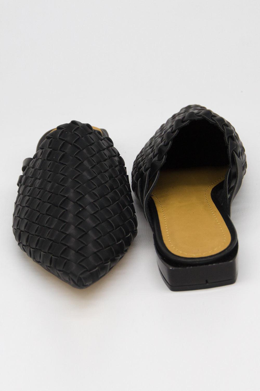 Hasır Görünümlü Mule Terlik (Siyah)