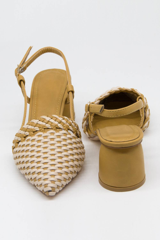 Hasır Görünümlü Topuklu Ayakkabı (Krem/Bej)