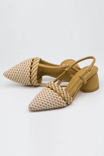 Hasır Görünümlü Topuklu Ayakkabı (Krem/Bej) - Thumbnail