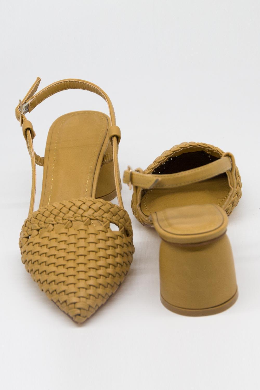Hasır Görünümlü Topuklu Ayakkabı (Taba)
