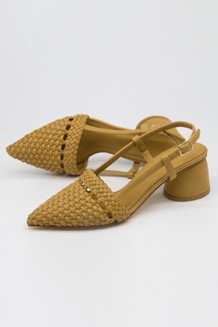 Hasır Görünümlü Topuklu Ayakkabı (Taba) - Thumbnail