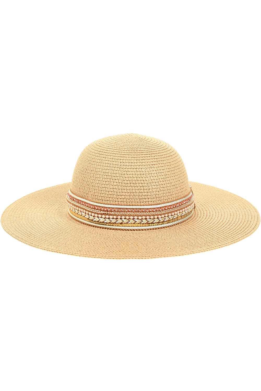 MIZALLE Hasır Plaj Şapkası (Bantlı) (1)