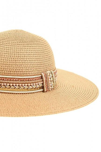 Hasır Plaj Şapkası (Bantlı) - Thumbnail