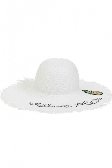 MIZALLE - Hasır Plaj Şapkası (Beyaz) (1)
