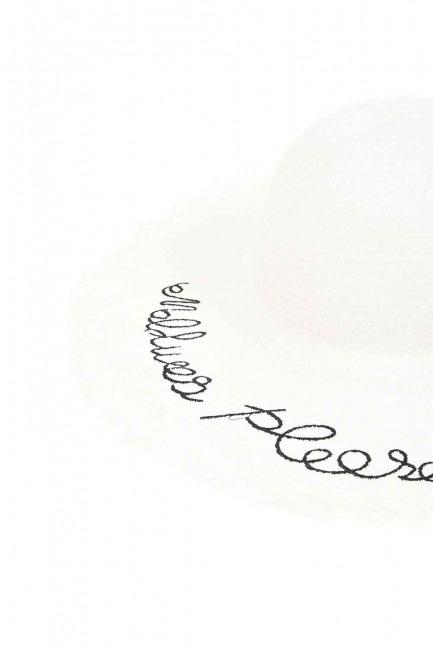Hasır Plaj Şapkası (Beyaz) - Thumbnail