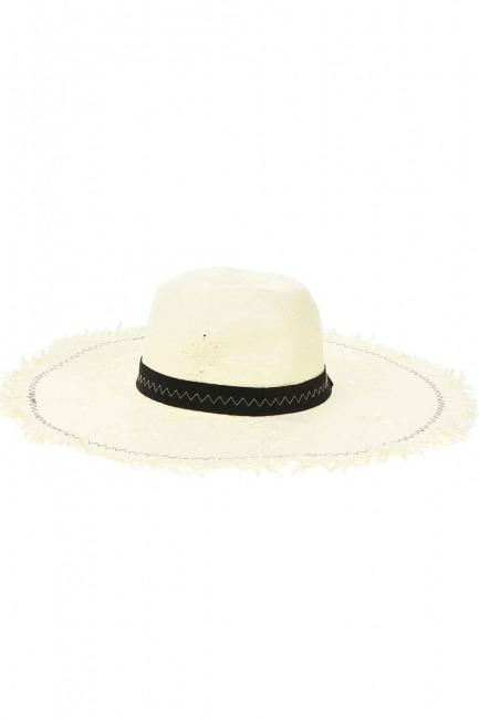Hasır Plaj Şapkası (Ekru) - Thumbnail