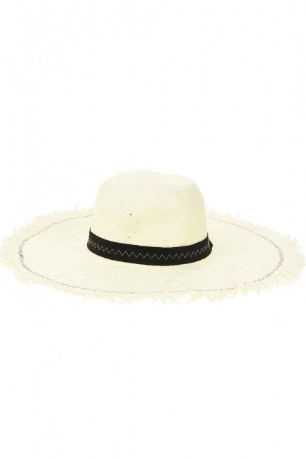 MIZALLE - Straw Beach Hat (Ecru) (1)